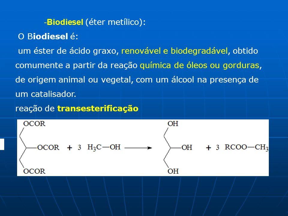 -Biodiesel (éter metílico): O Biodiesel é: um éster de ácido graxo, renovável e biodegradável, obtido comumente a partir da reação química de óleos ou