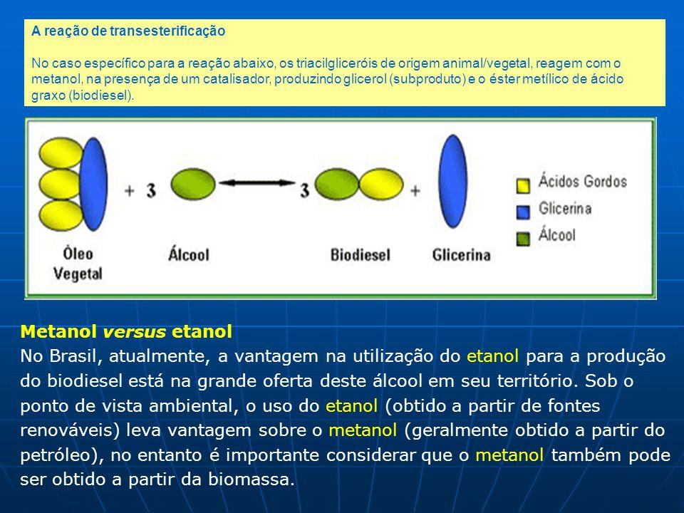 A reação de transesterificação No caso específico para a reação abaixo, os triacilgliceróis de origem animal/vegetal, reagem com o metanol, na presenç