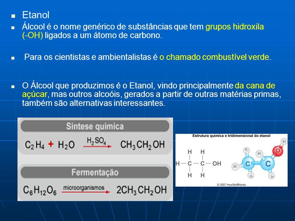 Etanol Álcool é o nome genérico de substâncias que tem grupos hidroxila (-OH) ligados a um átomo de carbono. Para os cientistas e ambientalistas é o c