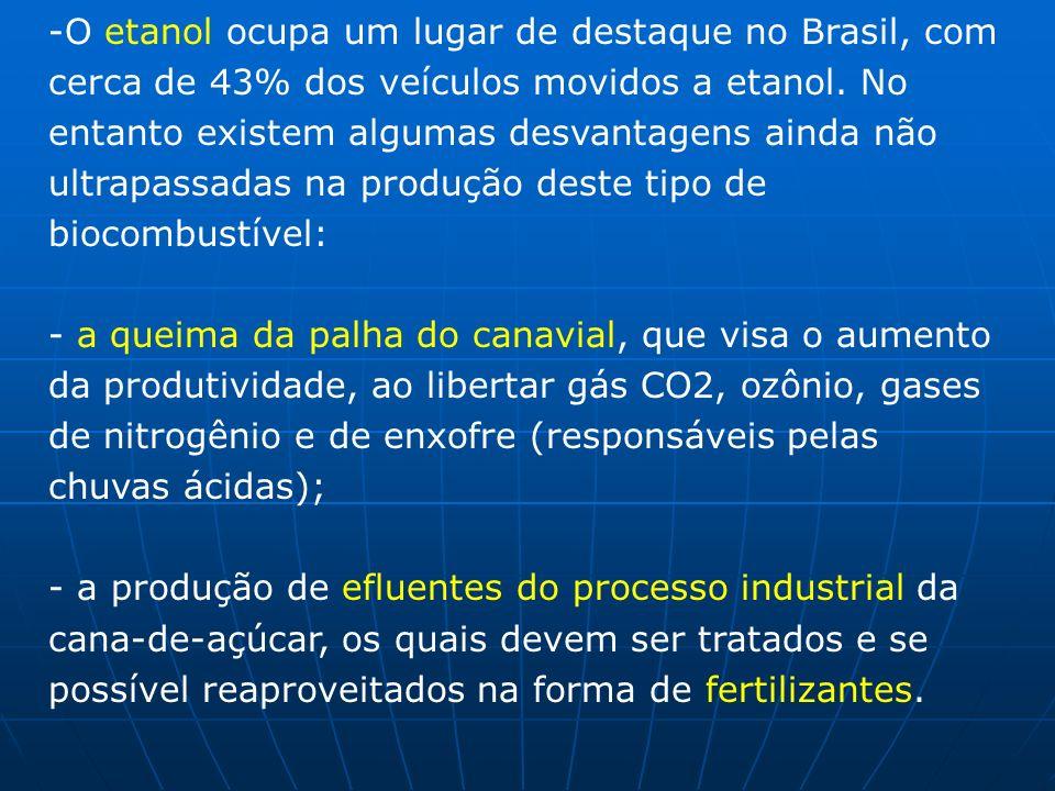 -O etanol ocupa um lugar de destaque no Brasil, com cerca de 43% dos veículos movidos a etanol. No entanto existem algumas desvantagens ainda não ultr