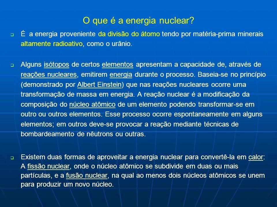 O que é a energia nuclear? É a energia proveniente da divisão do átomo tendo por matéria-prima minerais altamente radioativo, como o urânio. Alguns is