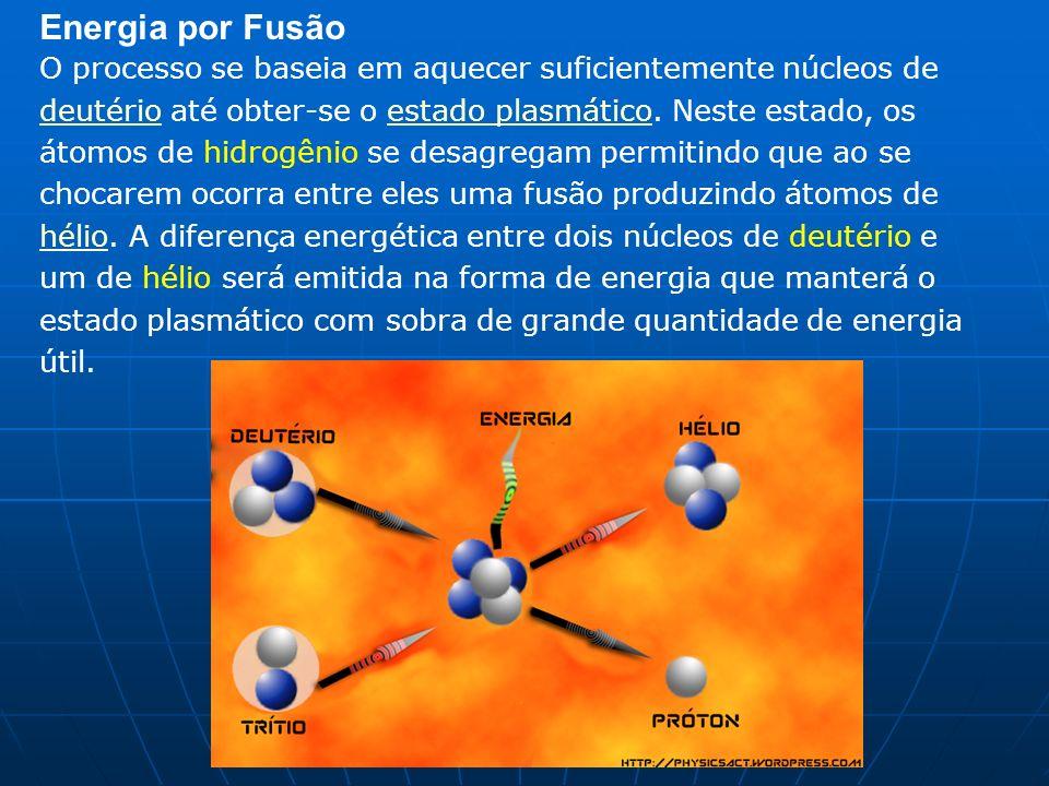 Energia por Fusão O processo se baseia em aquecer suficientemente núcleos de deutério até obter-se o estado plasmático. Neste estado, os átomos de hid