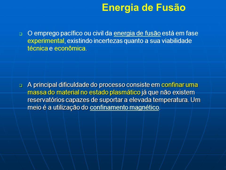 Energia de Fusão. O emprego pacífico ou civil da energia de fusão está em fase experimental, existindo incertezas quanto a sua viabilidade técnica e e