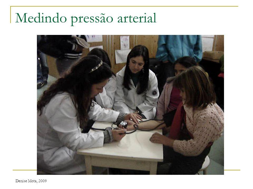 Denise Mota, 2009 Valores normais Pressão arterial ManguitoLargura(cm)Comprimento(cm) RN2,5-45-9 Lactente4-611,5-18 Criança5-917-19 Adulto10,5-1322-26