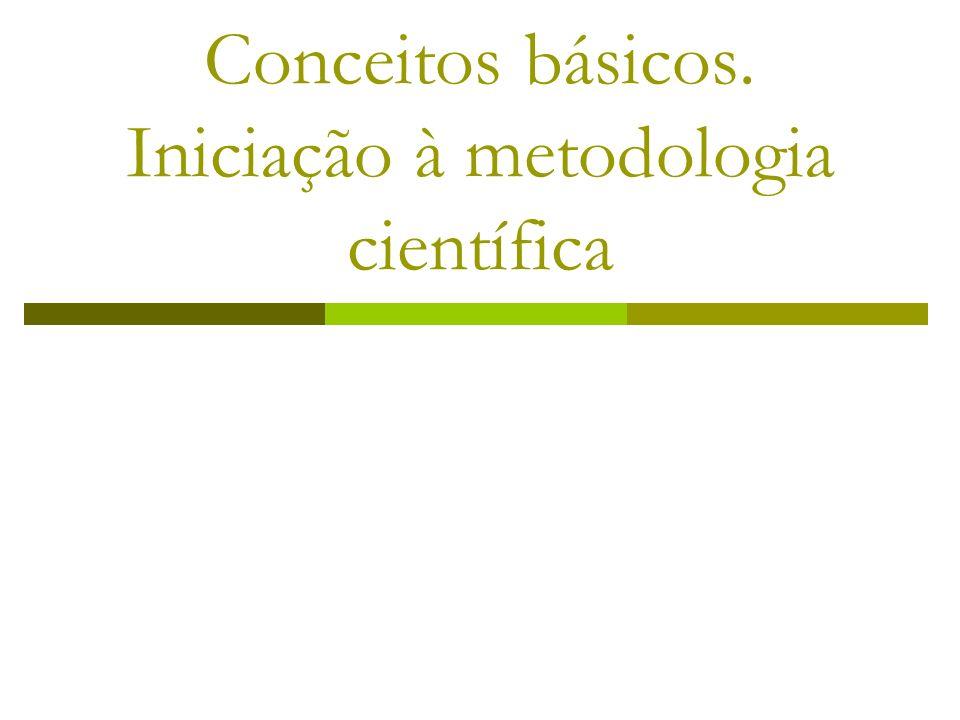 Conceitos básicos. Iniciação à metodologia científica