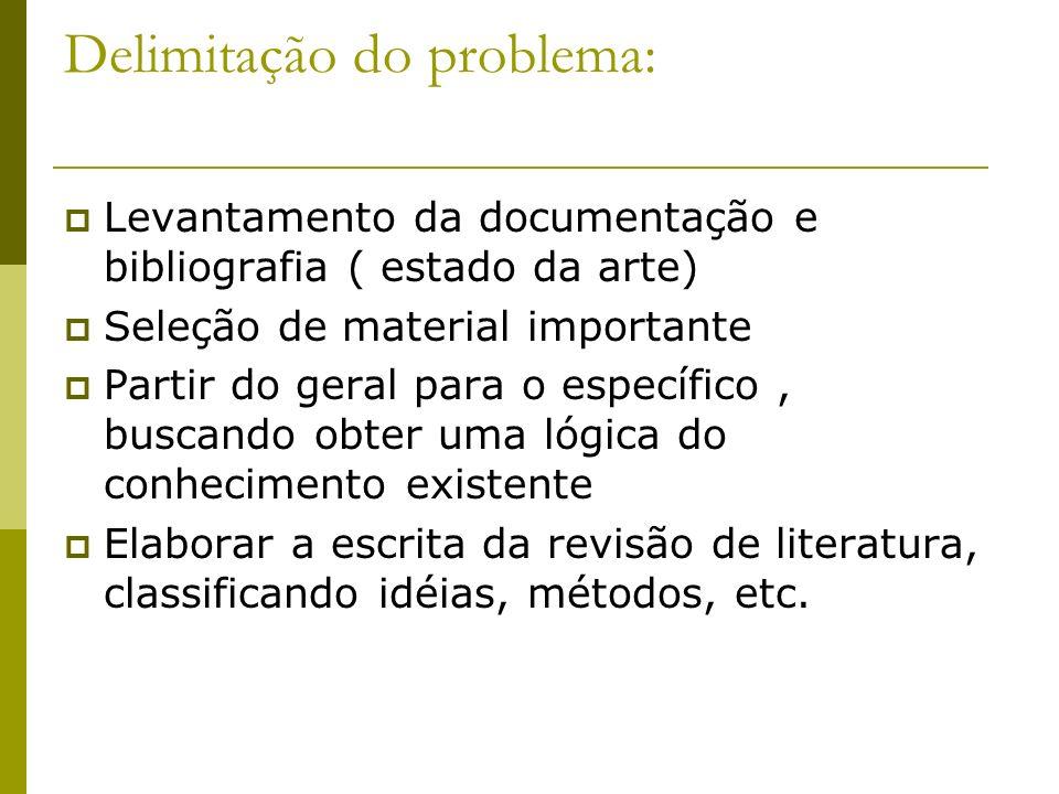Delimitação do problema: Levantamento da documentação e bibliografia ( estado da arte) Seleção de material importante Partir do geral para o específic