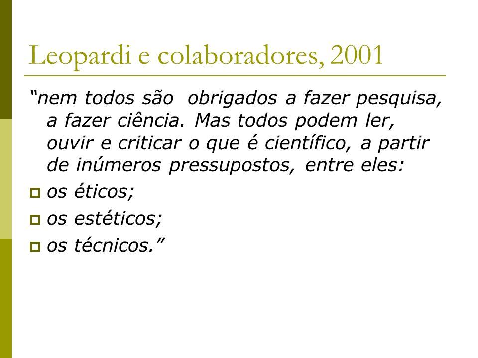 Leopardi e colaboradores, 2001 nem todos são obrigados a fazer pesquisa, a fazer ciência. Mas todos podem ler, ouvir e criticar o que é científico, a