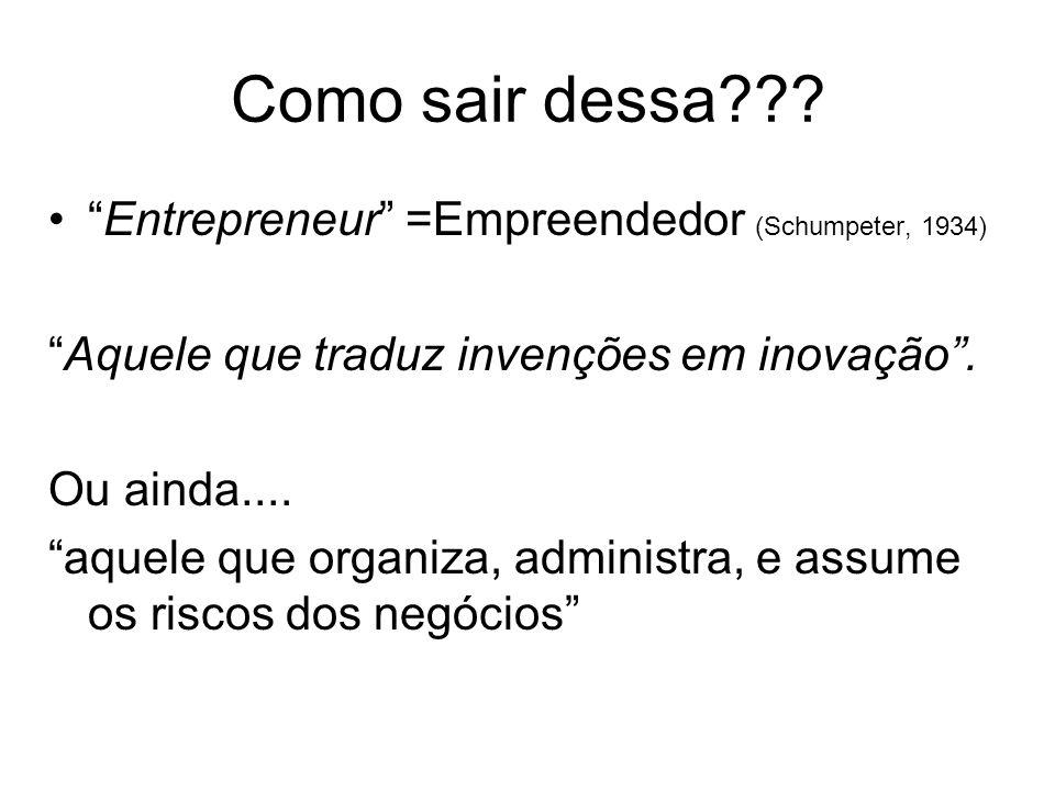 Como sair dessa??? Entrepreneur =Empreendedor (Schumpeter, 1934) Aquele que traduz invenções em inovação. Ou ainda.... aquele que organiza, administra