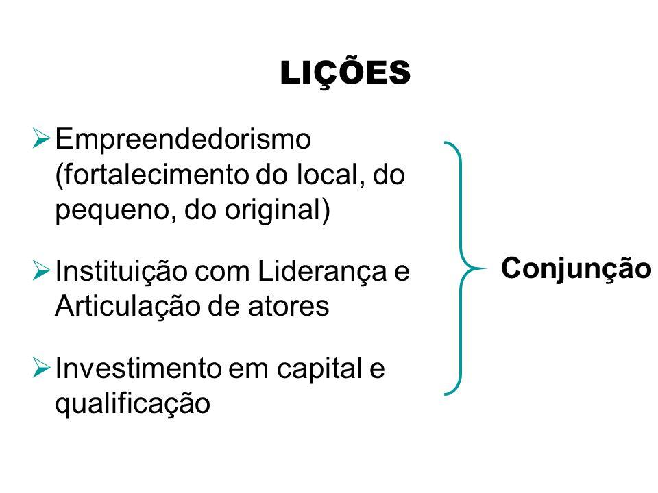 Empreendedorismo (fortalecimento do local, do pequeno, do original) Instituição com Liderança e Articulação de atores Investimento em capital e qualif