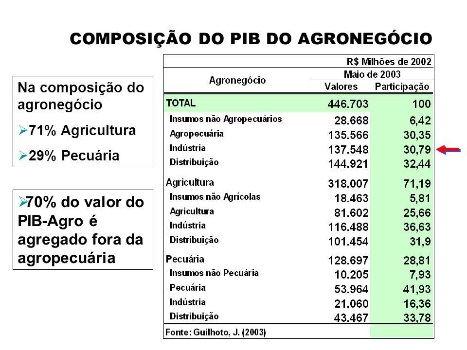 COMPOSIÇÃO DO PIB DO AGRONEGÓCIO Na composição do agronegócio 71% Agricultura 29% Pecuária 70% do valor do PIB-Agro é agregado fora da agropecuária