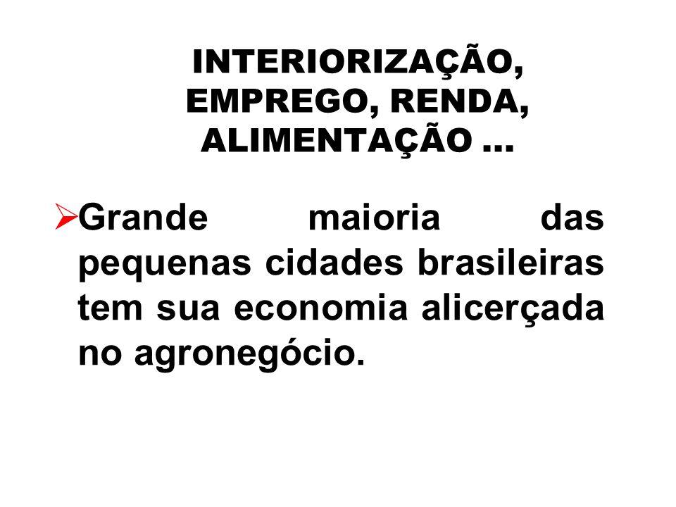 INTERIORIZAÇÃO, EMPREGO, RENDA, ALIMENTAÇÃO... Grande maioria das pequenas cidades brasileiras tem sua economia alicerçada no agronegócio.