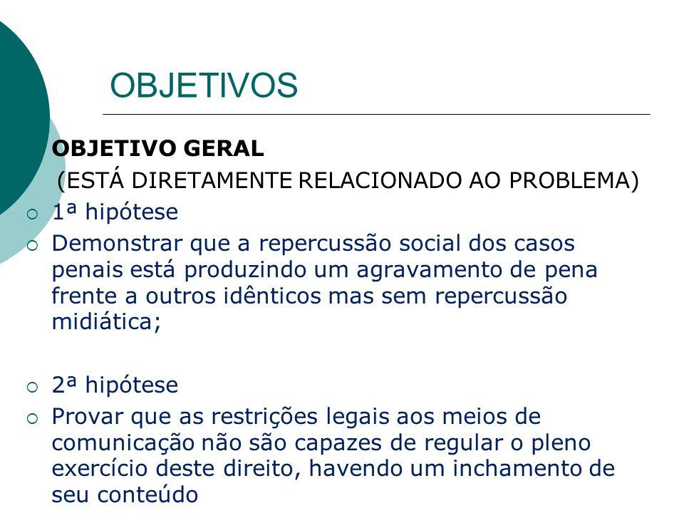OBJETIVOS OBJETIVO GERAL (ESTÁ DIRETAMENTE RELACIONADO AO PROBLEMA) 1ª hipótese Demonstrar que a repercussão social dos casos penais está produzindo u