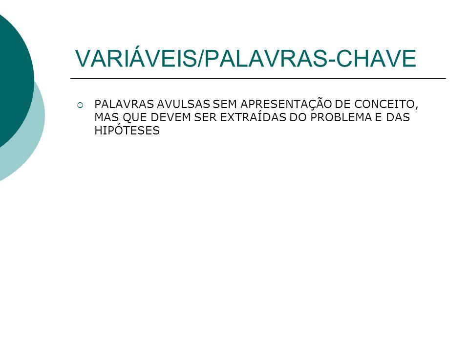 VARIÁVEIS/PALAVRAS-CHAVE PALAVRAS AVULSAS SEM APRESENTAÇÃO DE CONCEITO, MAS QUE DEVEM SER EXTRAÍDAS DO PROBLEMA E DAS HIPÓTESES