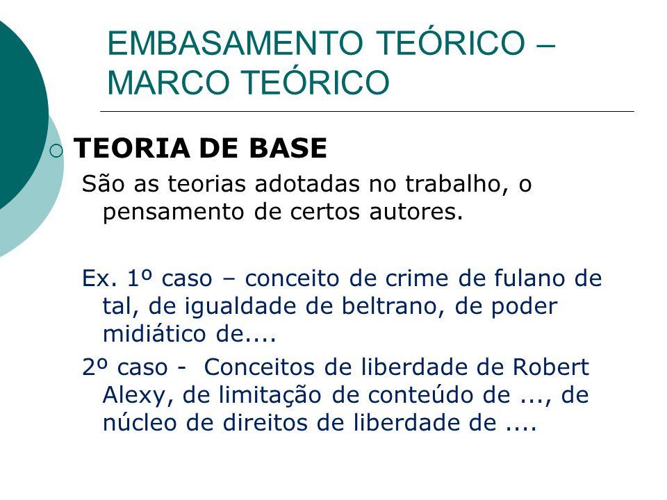 EMBASAMENTO TEÓRICO – MARCO TEÓRICO TEORIA DE BASE São as teorias adotadas no trabalho, o pensamento de certos autores. Ex. 1º caso – conceito de crim