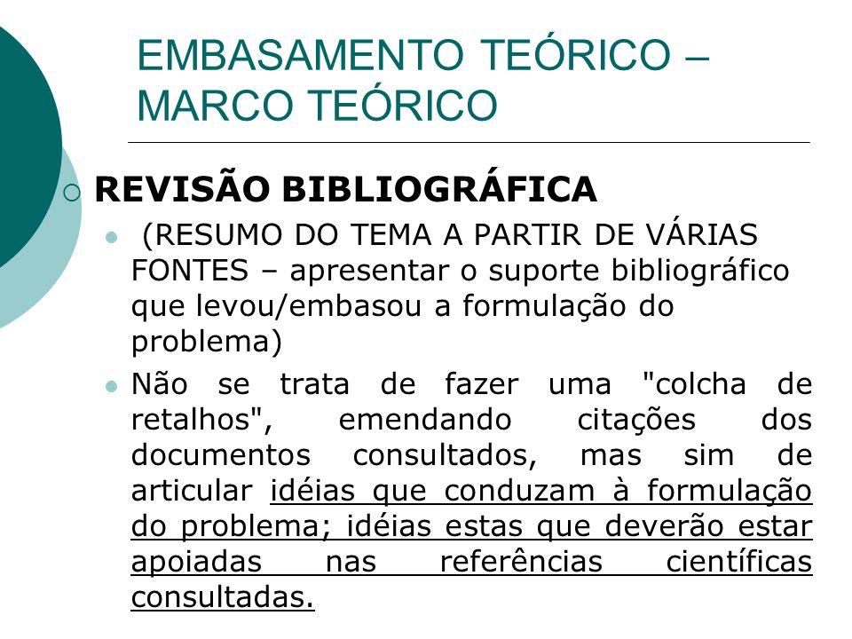 EMBASAMENTO TEÓRICO – MARCO TEÓRICO REVISÃO BIBLIOGRÁFICA (RESUMO DO TEMA A PARTIR DE VÁRIAS FONTES – apresentar o suporte bibliográfico que levou/emb