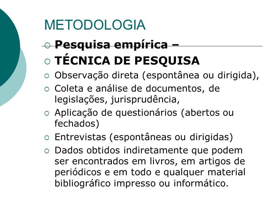 METODOLOGIA Pesquisa empírica – TÉCNICA DE PESQUISA Observação direta (espontânea ou dirigida), Coleta e análise de documentos, de legislações, jurisp