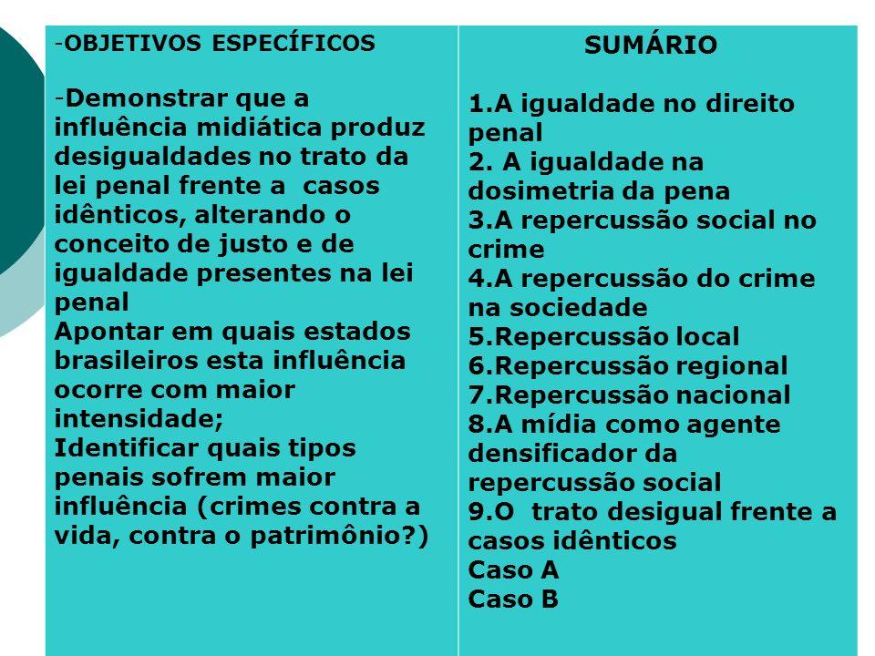 -OBJETIVOS ESPECÍFICOS -Demonstrar que a influência midiática produz desigualdades no trato da lei penal frente a casos idênticos, alterando o conceit