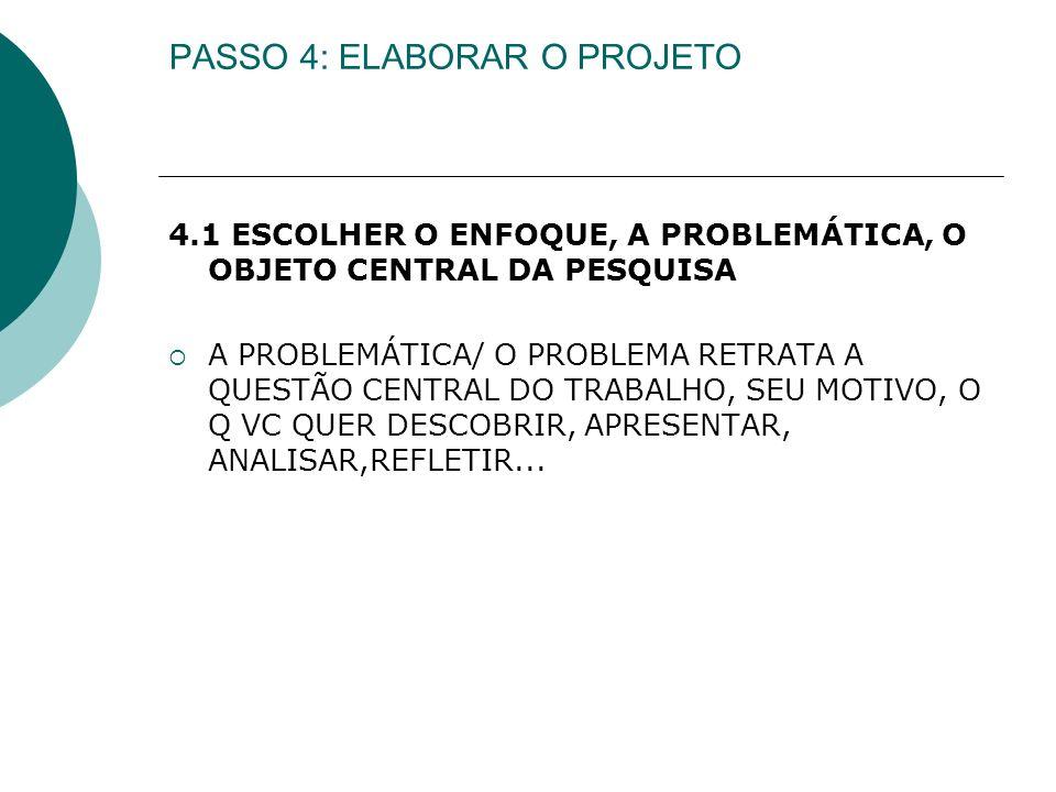 PASSO 4: ELABORAR O PROJETO 4.1 ESCOLHER O ENFOQUE, A PROBLEMÁTICA, O OBJETO CENTRAL DA PESQUISA A PROBLEMÁTICA/ O PROBLEMA RETRATA A QUESTÃO CENTRAL