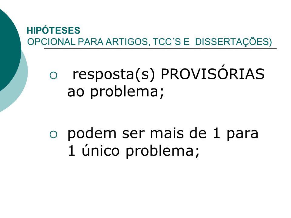HIPÓTESES ( OPCIONAL PARA ARTIGOS, TCC´S E DISSERTAÇÕES) resposta(s) PROVISÓRIAS ao problema; podem ser mais de 1 para 1 único problema;