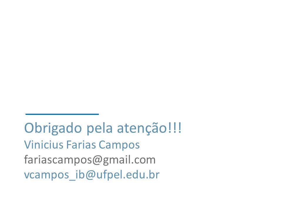 Obrigado pela atenção!!! Vinicius Farias Campos fariascampos@gmail.com vcampos_ib@ufpel.edu.br
