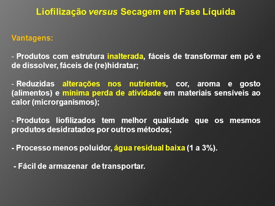 Liofilização versus Secagem em Fase Líquida Vantagens: - Produtos com estrutura inalterada, fáceis de transformar em pó e de dissolver, fáceis de (re)