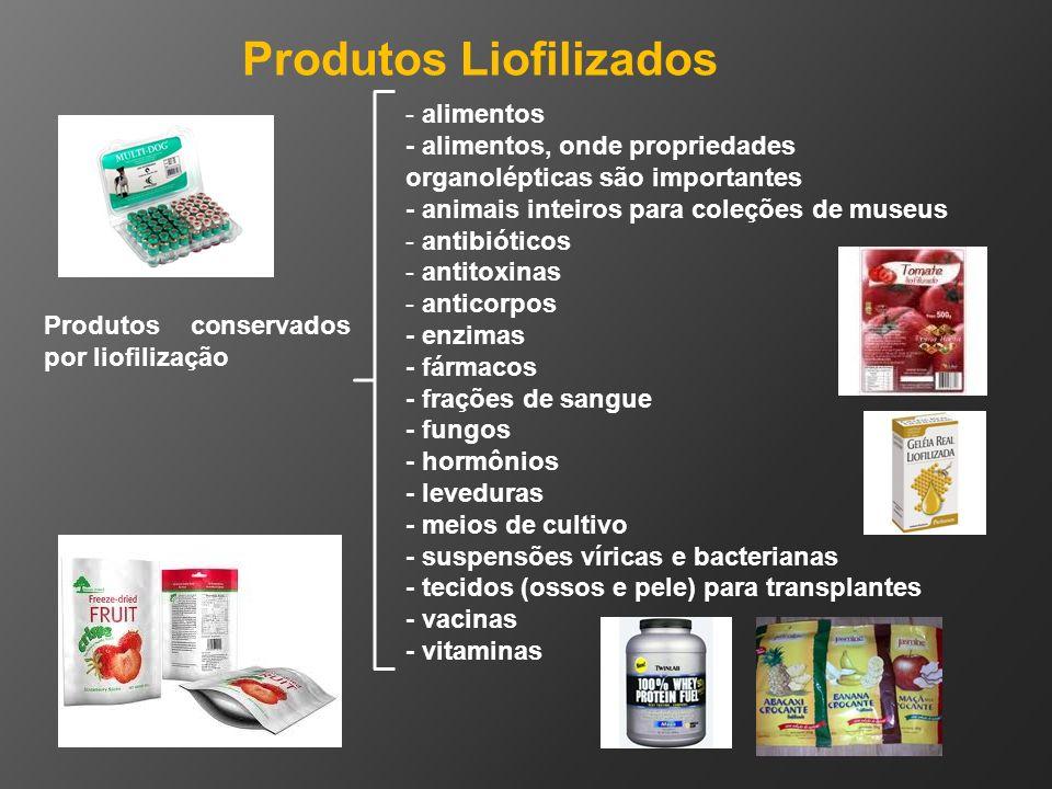 - alimentos - alimentos, onde propriedades organolépticas são importantes - animais inteiros para coleções de museus - antibióticos - antitoxinas - an