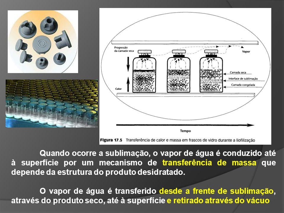 Quando ocorre a sublimação, o vapor de água é conduzido até à superfície por um mecanismo de transferência de massa que depende da estrutura do produt
