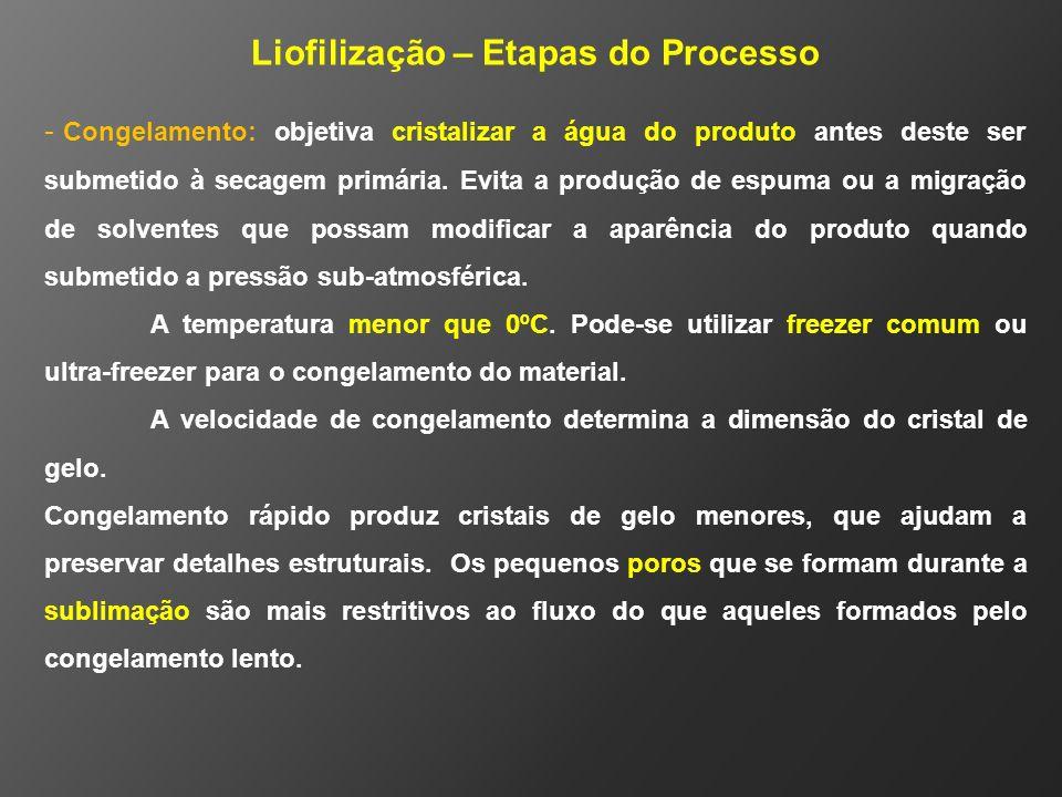 Liofilização – Etapas do Processo - Congelamento: objetiva cristalizar a água do produto antes deste ser submetido à secagem primária. Evita a produçã