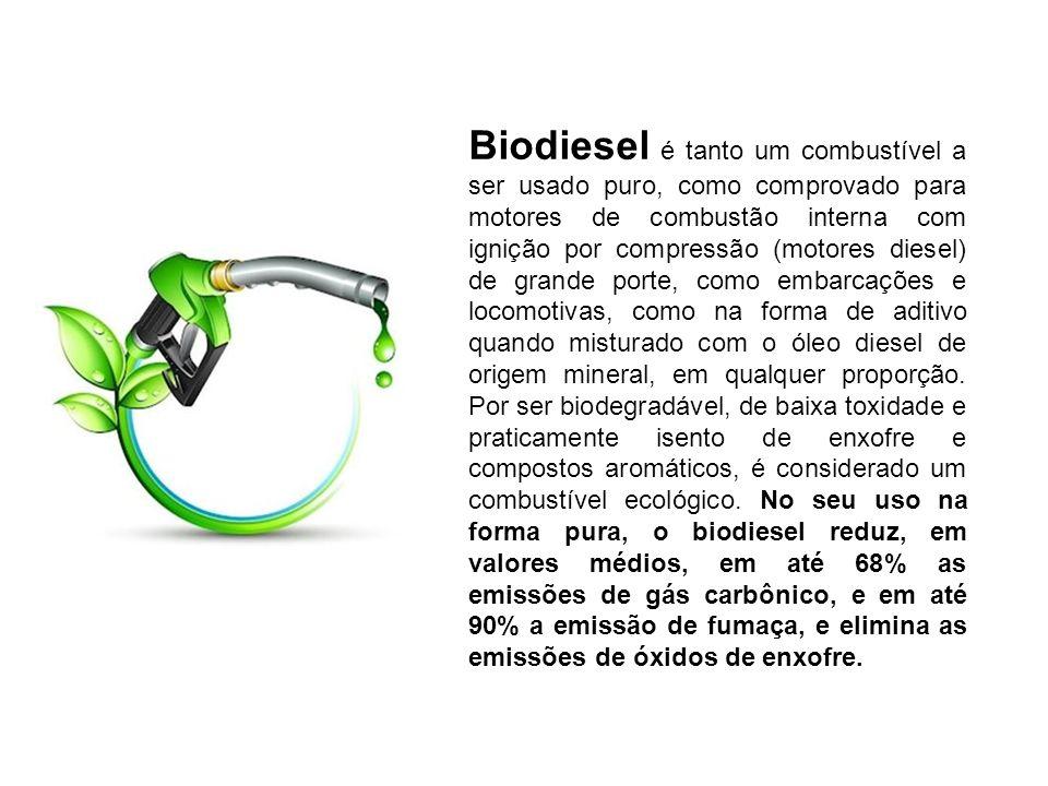 Biodiesel é tanto um combustível a ser usado puro, como comprovado para motores de combustão interna com ignição por compressão (motores diesel) de gr