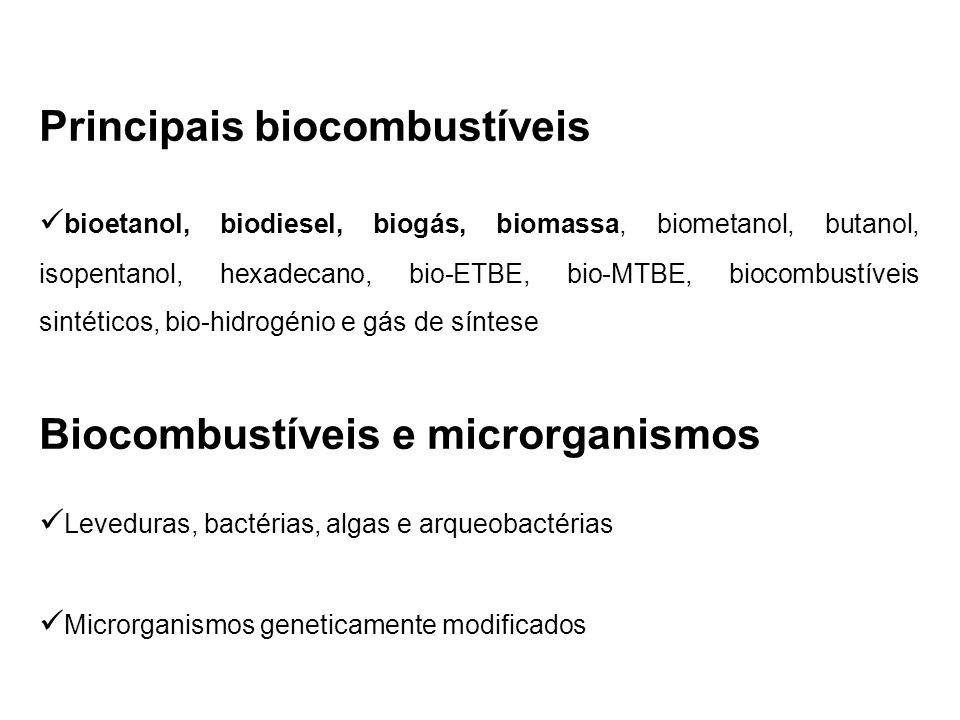 Principais biocombustíveis bioetanol, biodiesel, biogás, biomassa, biometanol, butanol, isopentanol, hexadecano, bio-ETBE, bio-MTBE, biocombustíveis s