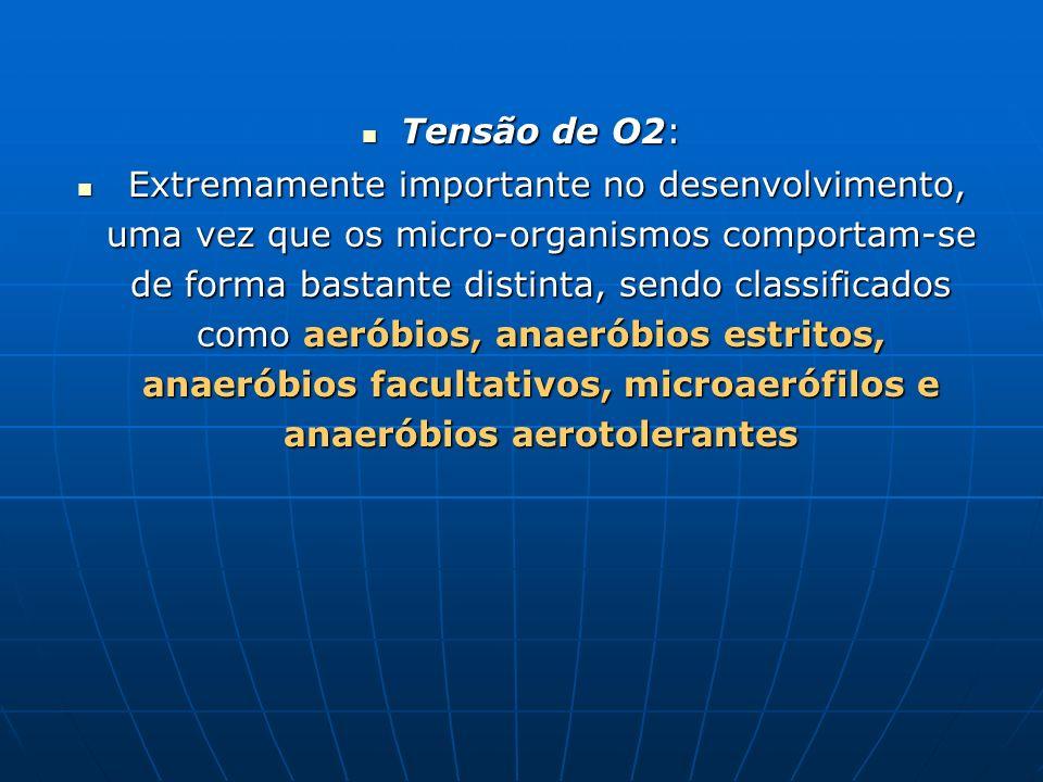 Tensão de O2: Tensão de O2: Extremamente importante no desenvolvimento, uma vez que os micro-organismos comportam-se de forma bastante distinta, sendo