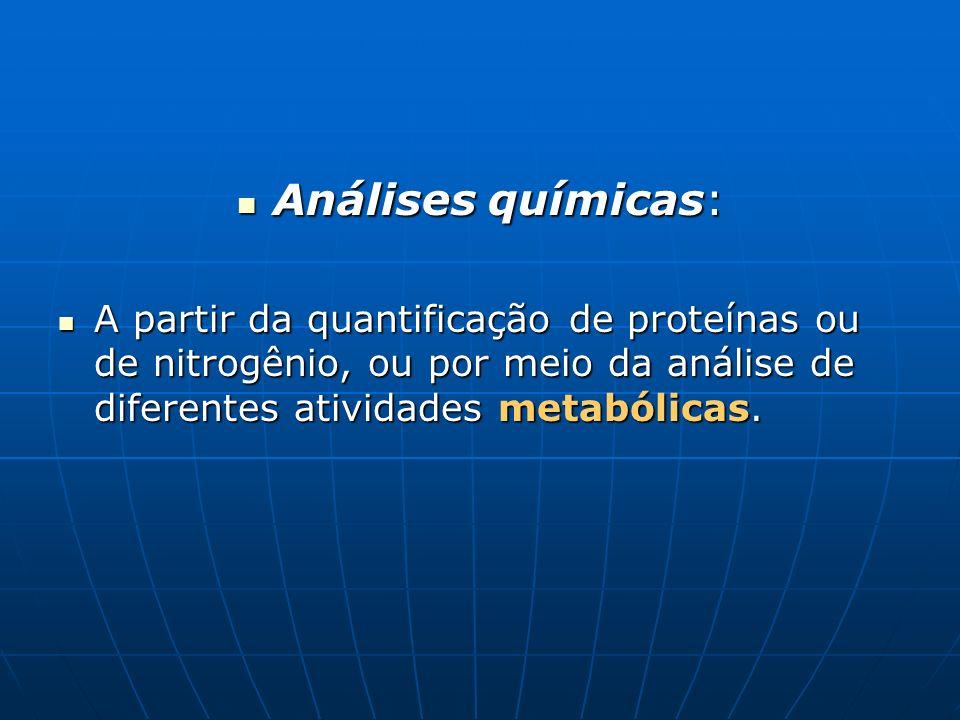 Análises químicas: Análises químicas: A partir da quantificação de proteínas ou de nitrogênio, ou por meio da análise de diferentes atividades metaból