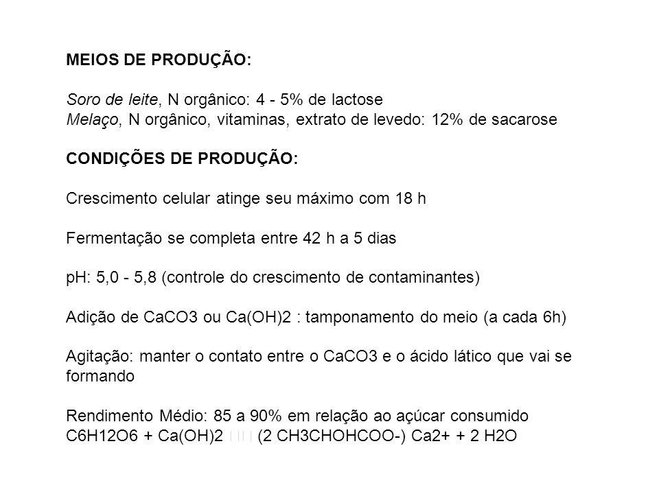 MEIOS DE PRODUÇÃO: Soro de leite, N orgânico: 4 - 5% de lactose Melaço, N orgânico, vitaminas, extrato de levedo: 12% de sacarose CONDIÇÕES DE PRODUÇÃ