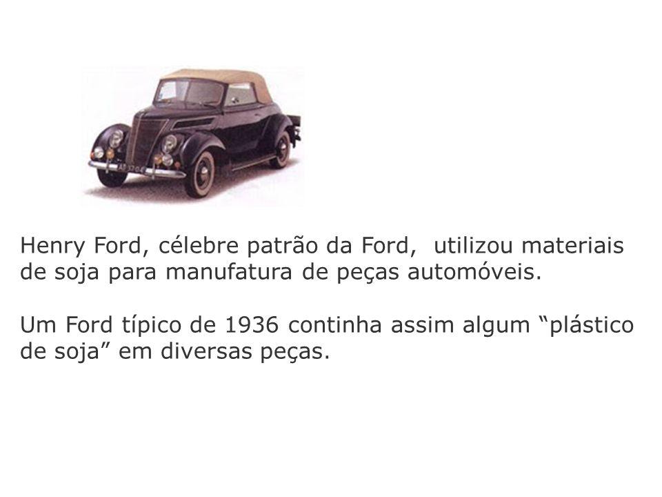 Henry Ford, célebre patrão da Ford, utilizou materiais de soja para manufatura de peças automóveis. Um Ford típico de 1936 continha assim algum plásti