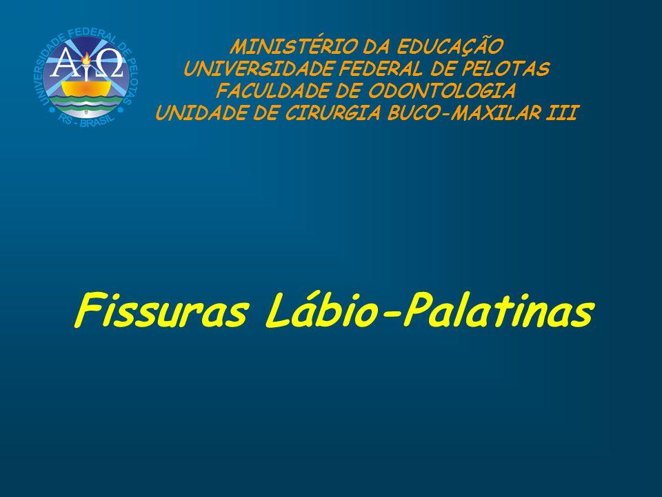 Fissuras Lábio-Palatinas MINISTÉRIO DA EDUCAÇÃO UNIVERSIDADE FEDERAL DE PELOTAS FACULDADE DE ODONTOLOGIA UNIDADE DE CIRURGIA BUCO-MAXILAR III