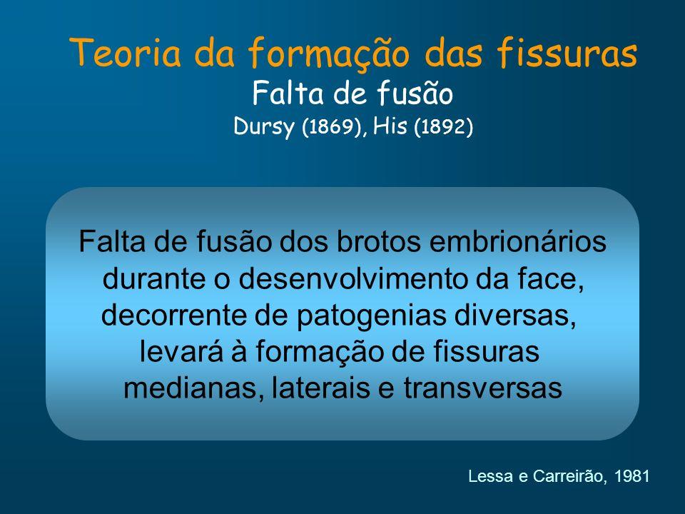 Teoria da formação das fissuras Falta de fusão Dursy (1869), His (1892) Falta de fusão dos brotos embrionários durante o desenvolvimento da face, deco