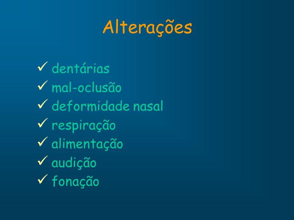Alterações dentárias mal-oclusão deformidade nasal respiração alimentação audição fonação