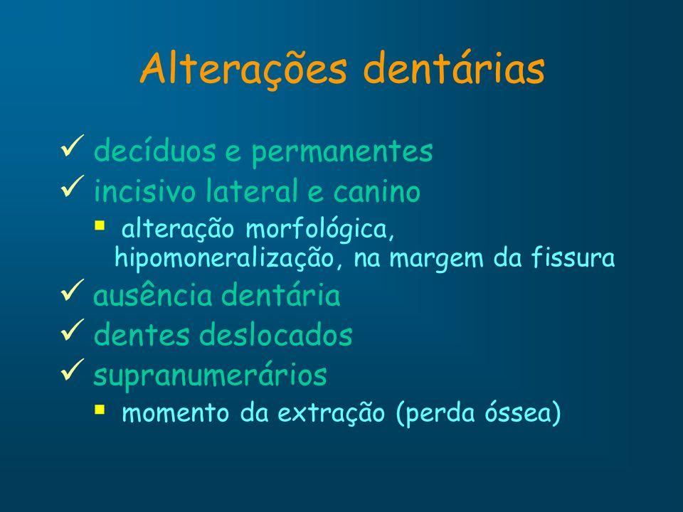 Alterações dentárias decíduos e permanentes incisivo lateral e canino alteração morfológica, hipomoneralização, na margem da fissura ausência dentária