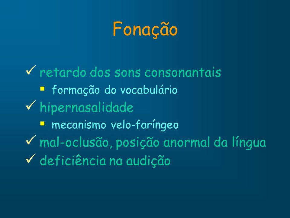 Fonação retardo dos sons consonantais formação do vocabulário hipernasalidade mecanismo velo-faríngeo mal-oclusão, posição anormal da língua deficiênc