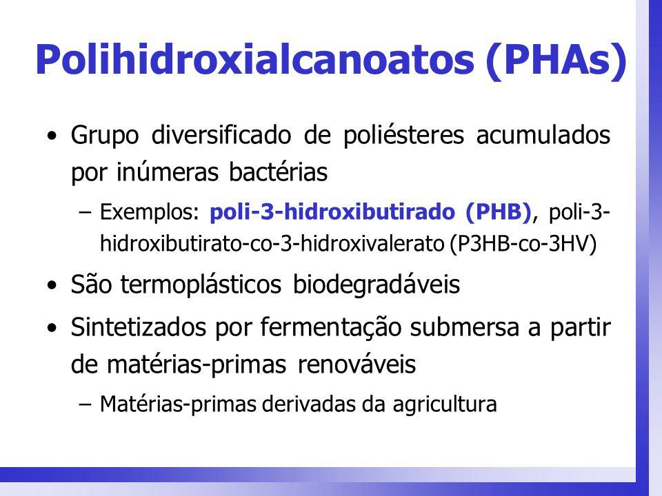 Polihidroxialcanoatos (PHAs) Grupo diversificado de poliésteres acumulados por inúmeras bactérias –Exemplos: poli-3-hidroxibutirado (PHB), poli-3- hid