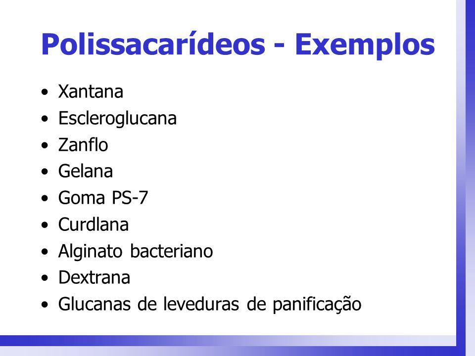 Polissacarídeos - Exemplos Xantana Escleroglucana Zanflo Gelana Goma PS-7 Curdlana Alginato bacteriano Dextrana Glucanas de leveduras de panificação