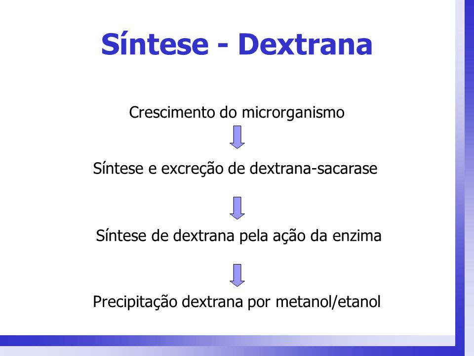 Síntese - Dextrana Crescimento do microrganismo Síntese e excreção de dextrana-sacarase Síntese de dextrana pela ação da enzima Precipitação dextrana