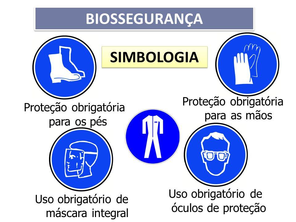 SIMBOLOGIA Proteção obrigatória para os pés Proteção obrigatória para as mãos Uso obrigatório de máscara integral Uso obrigatório de óculos de proteçã