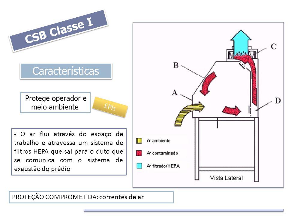 CSB Classe I Características Protege operador e meio ambiente - O ar flui através do espaço de trabalho e atravessa um sistema de filtros HEPA que sai