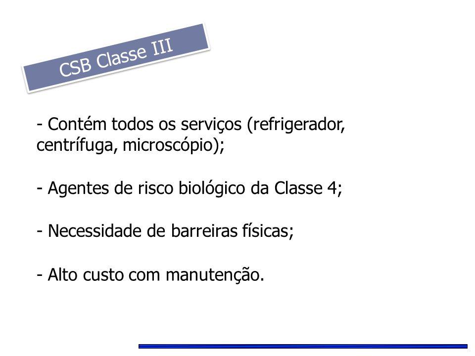 CSB Classe III - Alto custo com manutenção. - Agentes de risco biológico da Classe 4; - Contém todos os serviços (refrigerador, centrífuga, microscópi