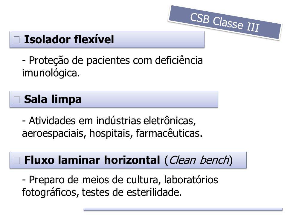 Isolador flexível - Preparo de meios de cultura, laboratórios fotográficos, testes de esterilidade. - Proteção de pacientes com deficiência imunológic
