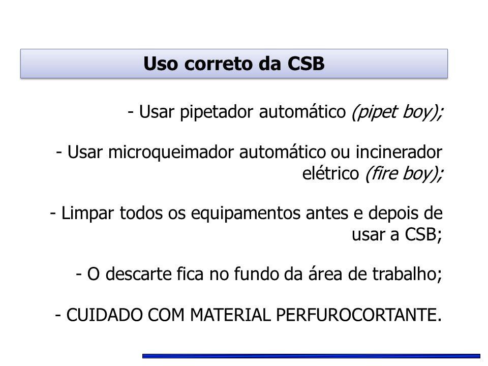 - Usar pipetador automático (pipet boy); - Usar microqueimador automático ou incinerador elétrico (fire boy); - CUIDADO COM MATERIAL PERFUROCORTANTE.