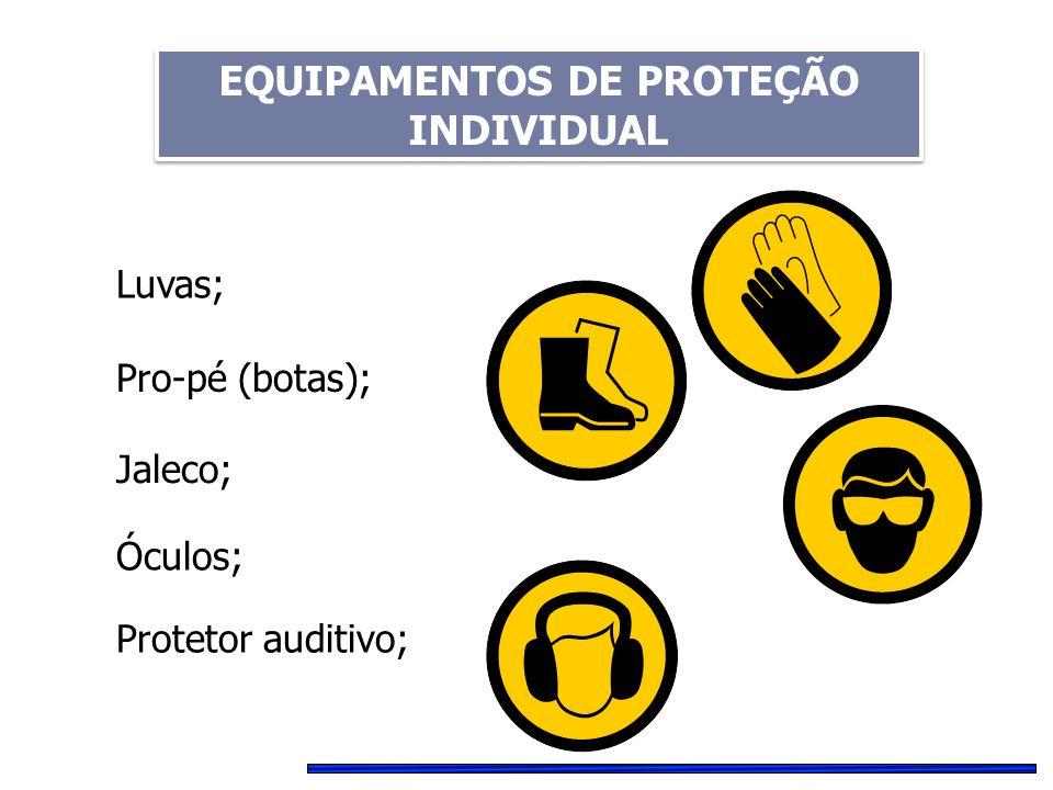 Luvas; Pro-pé (botas); Jaleco; Óculos; Protetor auditivo; EQUIPAMENTOS DE PROTEÇÃO INDIVIDUAL