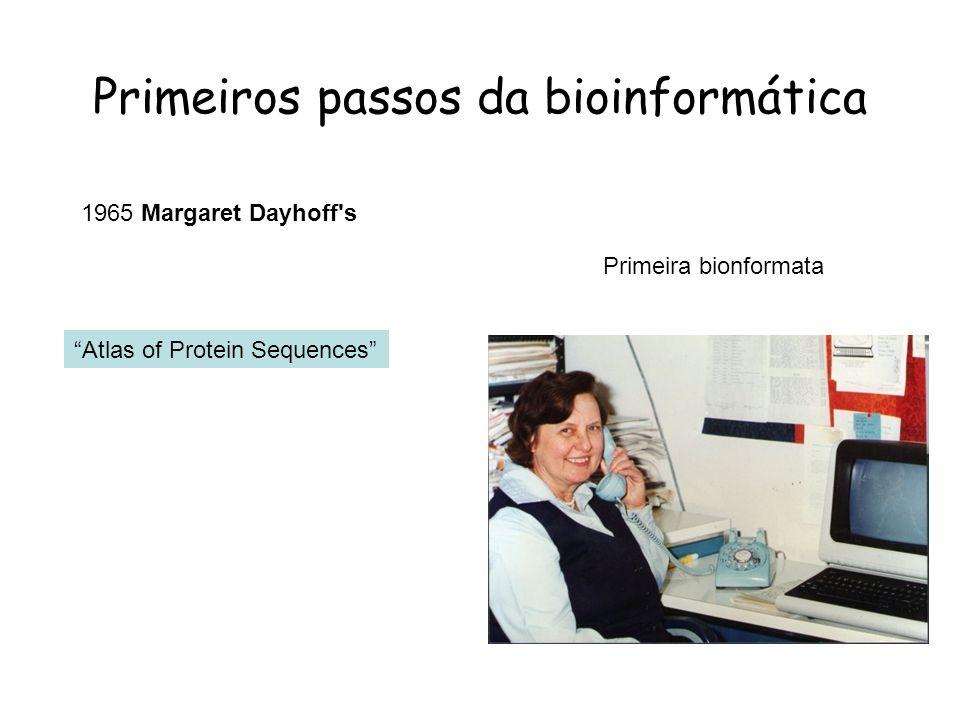 Primeiros passos da bioinformática Atlas of Protein Sequences 1965 Margaret Dayhoff's Primeira bionformata