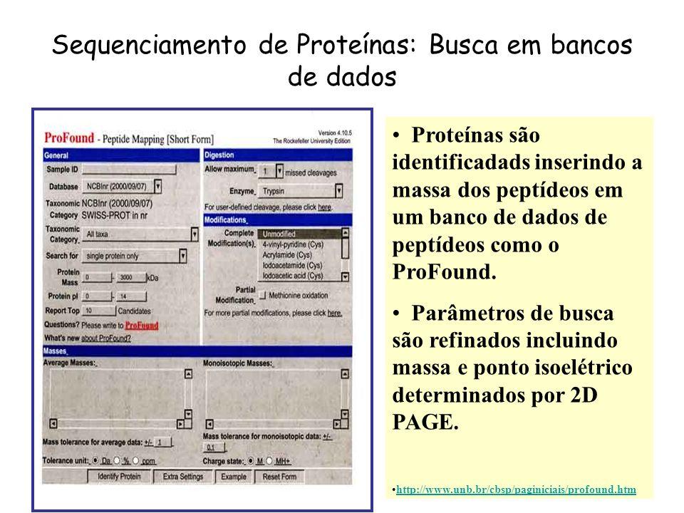 Proteínas são identificadads inserindo a massa dos peptídeos em um banco de dados de peptídeos como o ProFound. Parâmetros de busca são refinados incl